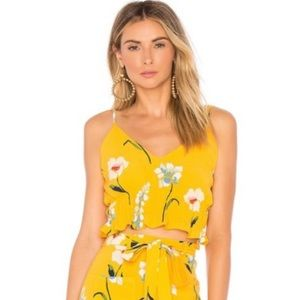 NWT L'Academie The Salta Top Yellow Meadow Floral